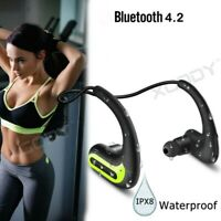 Swimming Wireless Bluetooth Headphone Sport HIFI Stereo Headset Waterproof Black