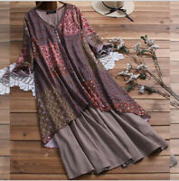 Hot Women Vintage Boho O-Neck Floral Print Long Sleeve Maxi Long Dress Plus Size