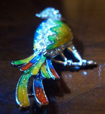 Vintage Parrot brooch clear rhinestones and colorful wings and tail