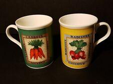Crown Trent ~ Country Vegetable Mugs ~ England ~ Carrot/Radish ~ Set of 2