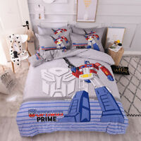 100% Cotton Transformers G1 Queen/King Bed Quilt Cover Set - Flat Fitted Sheet