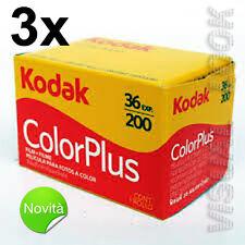 3 pezzi pellicola rullino Kodak Color Plus 36 foto 200 ISO 35 mm SCADENZA 2020