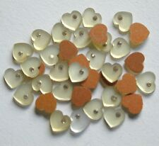 50 Vintage Japan Mother of Pearl 8mm Heart w/Rhinestone. No Hole (6530521) RARE!