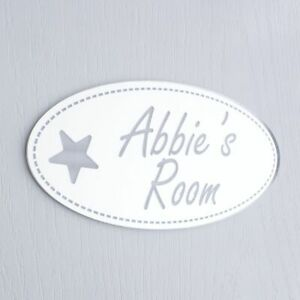 Shabby Chic Mirror Oval Personalised Door Name Plaque Boy Girl Bedroom Room Sign