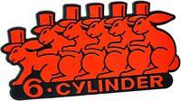 Auto 3D Relief Schild 6 CYLINDER Emblem 10 cm HR Art. 49998 selbstklebend