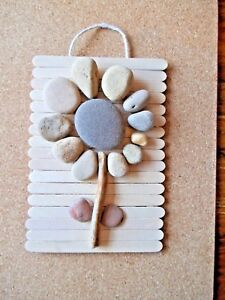 Hand crafted 3D pebble art flower picture. Decorative gift.