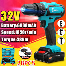 32V Electric Torque Drill Cordless Impact Wrench Hammer Screwdriver w/ 2 Battery