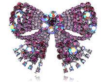 Vintage Fuchsia Rose Diamante Rhinestone Silver Tone Bow Pin Brooch Jewelry Gift
