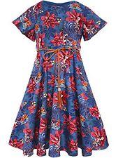 BONNY BILLY HAPPY HOLIDAY POINSETTIA DRESS US 10 12 GIRLS EU 140 BLUE RED COTTON