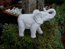 Steinfigur Elefanten Elefant klein grau patiniert Weißbeton