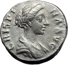 CRISPINA Commodus Wife FERTILITY GODS AltarRARE Ancient Silver Roman Coin i63401
