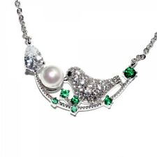 18K WHITE GOLD PLATED CLEAR/EMERALD CUBIC ZIRCONIA WHITE PEARL BIRD NECKLACE