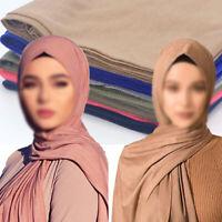 Women's Ladies Muslim Hijab Scarf Islamic Shawls Solid Color Head Wraps Scarves