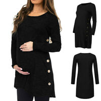 Pregnant Women Autumn Long Sleeve Solid O-Neck Tops Loose Blouse Button Pullover