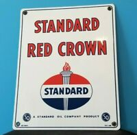 VINTAGE STANDARD RED CROWN GASOLINE PORCELAIN AMERICAN GAS OIL PUMP SERVICE SIGN