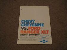 1974 CHEVROLET CHEYENNE VS FORD RANGER XLT DEALER ONLY COMPARISON BROCHURE RARE