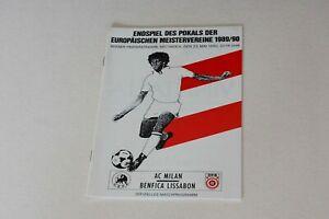 EUROPEAN CUP FINAL (1990) AC MILAN v BENFICA PROGRAMME (MINT)
