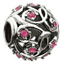 Chamilia sterling silver charm bead Leaves & Vines Fuchsia cz 2025-0787 RRP £55