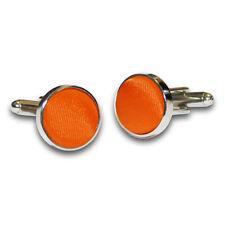 DQT Brass Fabric Inlay Cuff Links Plain Solid Burnt Orange Mens Cufflinks