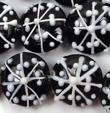 6 Lampwork Handmade Glass snowflake Lentil Beads 18mm