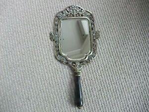Beautiful Edwardian Antique Brass Hand Mirror