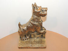 Brass Scottie Dog Bookends over 6 inches high marked Canada (11591)