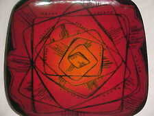 SIGNED FRANCES KENDE MODERN ENAMEL COPPER ART PLATE MIDCENTURY ABSTRACT DESIGN !