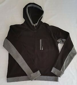 Women's fitness clothing, lightweight hooded jacket/top Black & grey XL