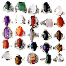 Wholesale Jewelry Lots 10pcs Natural Stone Silver Plated Rings Free Shipping