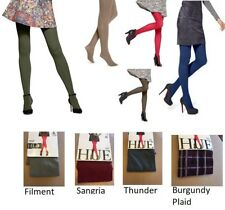 HUE opaque Womens Tights Oliver, Stoneware, Blue, Army Red Colors SZ 1  2 3