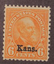 Scott 664 - 6 Cents Garfield Kans Overprint - MNH - Nice Centering - SCV $50.00