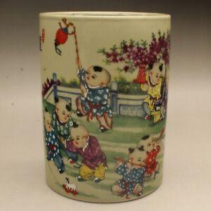 "5.3"" Collect China Jingdezhen Famille-rose Porcelain Children Kid Boy Brush Pot"