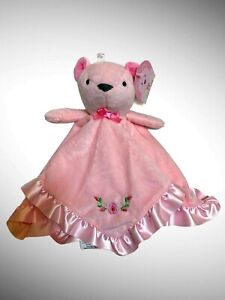 Stepping Stones Pink Bear Roses Flowers Security Blanket Satin Trim Lovey NWT