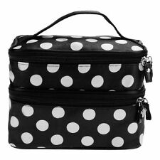Black Ladies Travel Case Makeup Cosmetic Set Large Toiletry Holder Mirror Bag