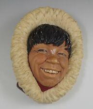 BOSSONS ENGLAND CHALKWARE ESKIMO -WALL PLAQUE,  CHARACTER HEAD