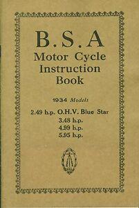 BSA Blue Star Manual 1934 2.49 hp 3.48 hp 4.99 hp 5.95 OHV Reprinted Book