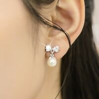 18K WHITE GOLD GF MADE WITH SWAROVSKI CRYSTAL PEARL BOW TIE STUD EARRINGS