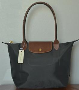 New Grey Longchamp Le Pliage 1899 Nylon Tote Shoulder Bag Handbag Size Large
