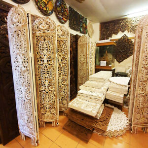 6 panel Diveder Home White Wooden Hand Carved Screen Privacy Peparator Partition