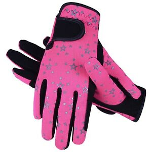 Childrens Kids Equestrian Horse Riding Gloves Synthetic Leather Cotton Dublin