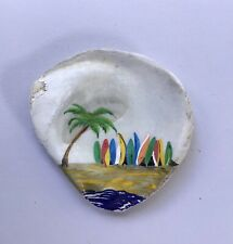 Surfboards At The Beach Hand painted shell - art