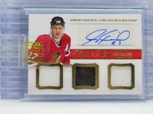 2013-14 National Treasures Jeremy Roenick Triple Game Used Jersey Auto F45