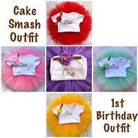 Girls First 1st Birthday Outfit Cake Smash Outfit Birthday Tutu Skirt & Headband