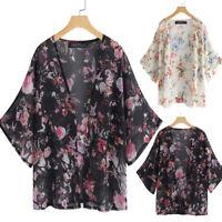 ZANZEA 8-24 Women Batwing Floral Coat Jacket Kimono Cardigan Cover Up Swimwear