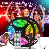 5050 RGB LED Strip Light SMD Bluetooth 16-49FT Tape Lights Color Changing DC Kit