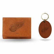 Detroit Red Wings Brown Wallet and Key Fob Set - NHL