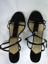 STUDIO - Women's Black Heeled Strappy Sandals T-design - Size 9 1/2 M