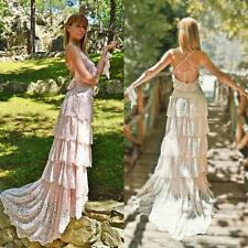 Lace Layered Beach Wedding Dress Bohemian Backless Bridal Gown Ivory 4 6 8 10 12