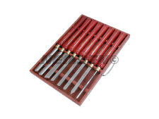 Wood Turning Carving Lathe Chisel & Gouge Set 8pc in Wooden Box HSS BLADES