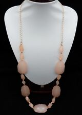 83 cm Peach Faux Gemstone Gold Plated Long Necklace, Lead & Nickel Free